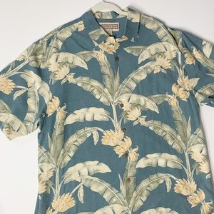 Jamaica Jaxx L Silk Hawaiian Shirt Leaves/flowers